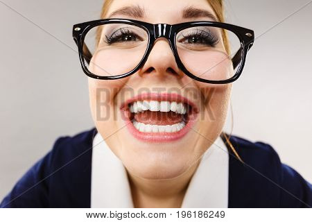 Close Up Of Happy Crazy Business Woman