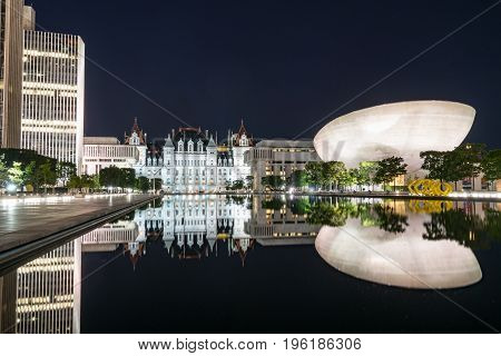 The Empire State Plaza in Albany New York is one of the most beauiful and architecturally stunning capital building complexes in the United States