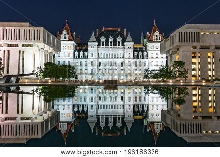 Reflection of New York State Capitol Building on the Empire State Plaza in Albany. New York