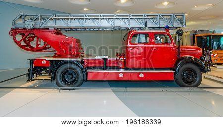 STUTTGART GERMANY- MARCH 19 2016: Firefighter car Mercedes-Benz LF3500 with Metz turntable ladder 1952. Mercedes-Benz Museum.