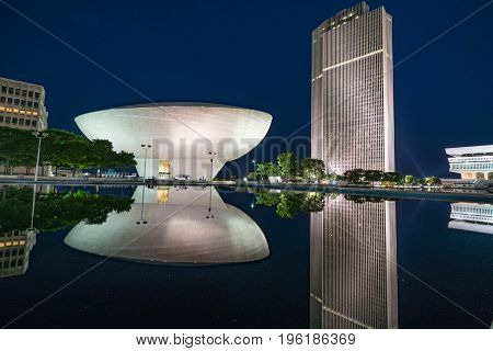 ALBANY NY - JUNE 28: The Egg performing arts center on the Empire State Plaza at Night on June 28 2017