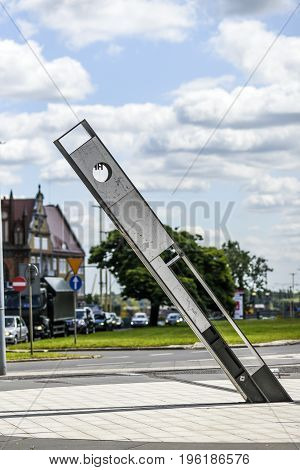 Szczecin Poland July 17 2017: Sundial in the square in Szczecin at the flower alley in summer
