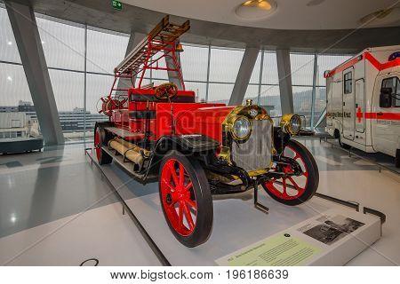 STUTTGART GERMANY- MARCH 19 2016: Firefighter vehicle Benz 1912. Mercedes-Benz Museum.