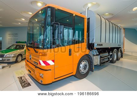 STUTTGART GERMANY- MARCH 19 2016: The refuse collection truck Mercedes-Benz Econic 2628 NGT 2005. Mercedes-Benz Museum.