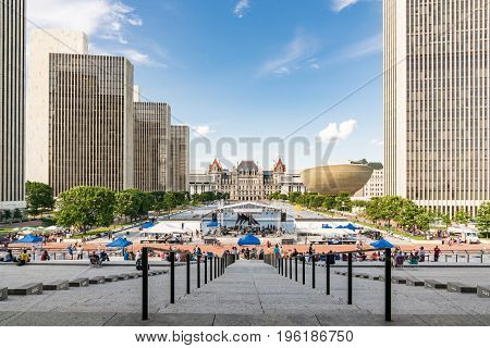 ALBANY NY - JUNE 28: Free concert on the Empire State Plaza in Albany. New York on June 28 2017