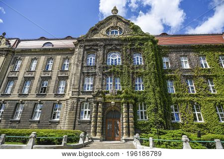 Building of the Maritime Academy in Szczecin summer sunshine weather