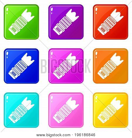 Interchangeable lens for camera icons of 9 color set isolated vector illustration
