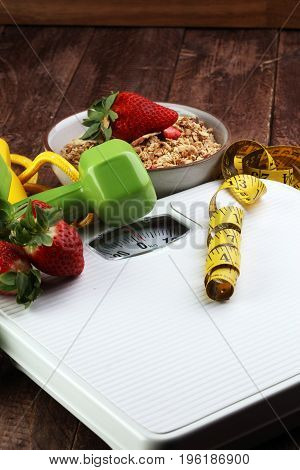 Scale With Cereals, Skipping Rope, Fruit, Strawberry, Weight And