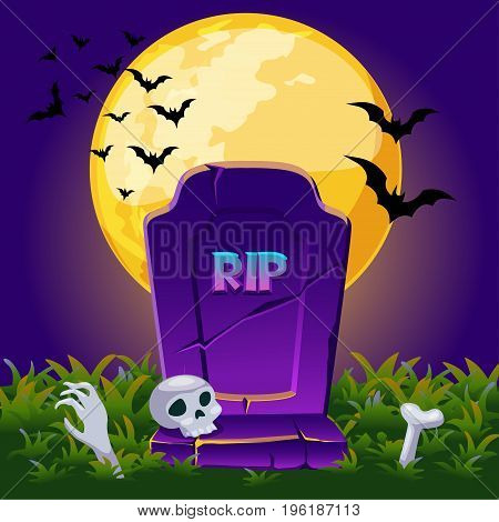 Cartoon Old gravestone at night with full moon, Halloween background card poster