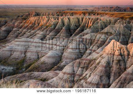 Sunrise over Badlands National Park South Dakota