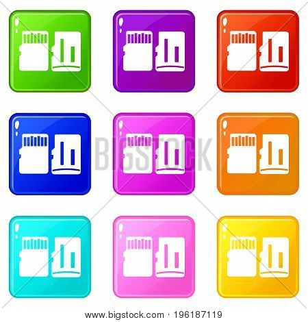 Both sides of SD memory card icons of 9 color set isolated vector illustration