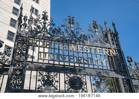 CHICAGO ILLINOIS USA - SEPTEMBER 18 2016: Elaborate iron gate entry on the Chicago campus of Northwestern University in Chicago Illinois.