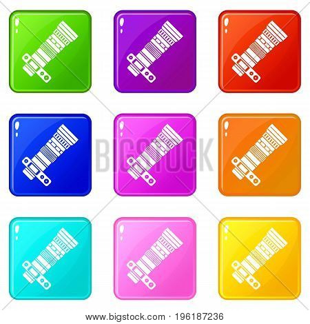 Dslr camera with zoom lens icons of 9 color set isolated vector illustration