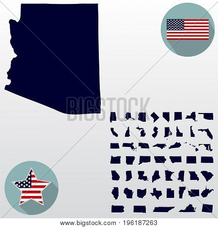 Map of the U.S. state of Arizona on a white background. American flag, star