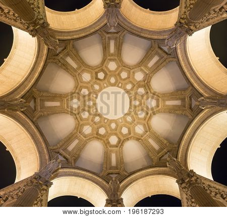 SAN FRANCISCO, CA - MARCH 2: Architectural geometric pattern on domed ceiling of the Palace of Fine Arts in San Francisco, CA on March 2, 2016
