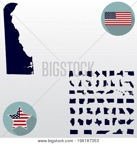Map of the U.S. state of Delaware on a white background. American flag, star.