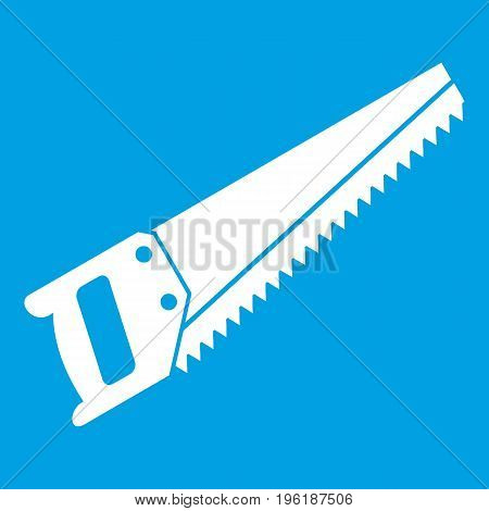 Saw icon white isolated on blue background vector illustration