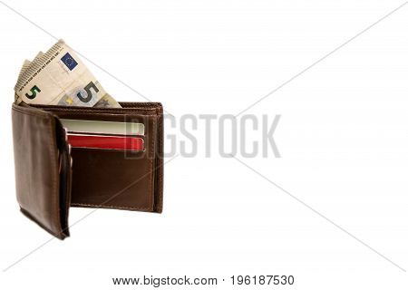 Brown wallet with money and cards on white background
