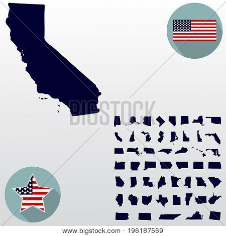 Map of the U.S. state of California on a white background. American flag star.