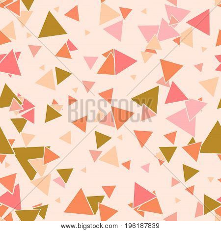 Abstract seamless pattern with colorful pink gold orange chaotic small triangles on pastel pink background. Infinity triangular geometric card. Vector illustration.