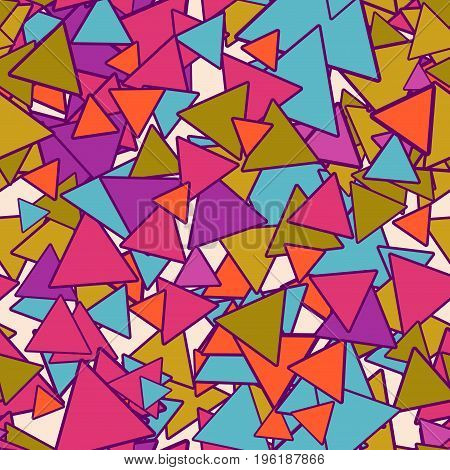 Abstract geometrical seamless pattern with colorful blue, gold, orange, pink chaotic triangles on beige background. Bright infinity geometric card. Vector illustration.