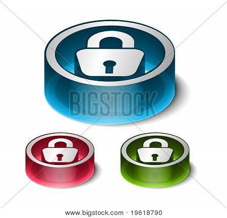 3d glossy lock icon blue isolated on black background. poster