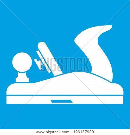 Jack plane icon white isolated on blue background vector illustration