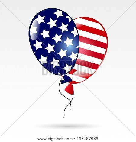 Balloons with the American flag. US Independence Day