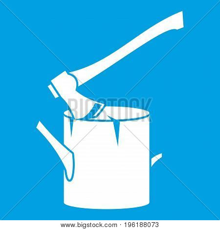 Axe stuck in a tree stump icon white isolated on blue background vector illustration