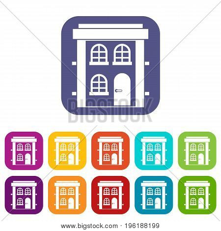 Two-storey residential house icons set vector illustration in flat style in colors red, blue, green, and other