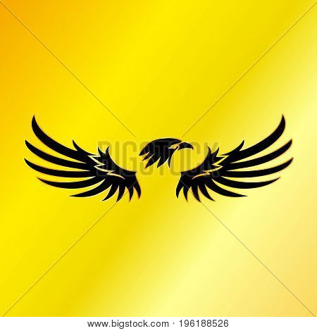 Black Eagle with Gold Background Vector Illustration