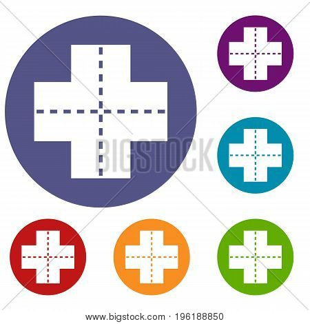 Crossroad icons set in flat circle red, blue and green color for web