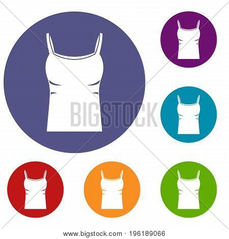 Blank women tank top icons set in flat circle red, blue and green color for web