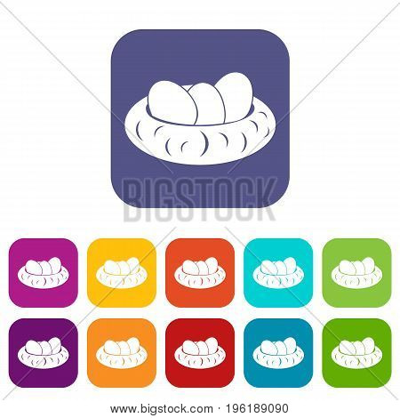 Eggs in the nest icons set vector illustration in flat style in colors red, blue, green, and other