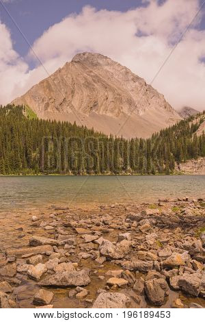 Landscape of Gusty Peak Mountain with Chester Lake in the foreground Kananaskis Alberta
