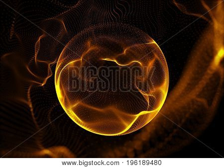 Abstract Particles Background with sphere shape. Orange sphere.