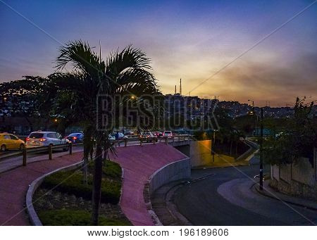 Urban Night Scene At Avenue In Guayaquil, Ecuador
