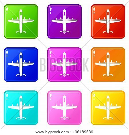 Military plane icons of 9 color set isolated vector illustration