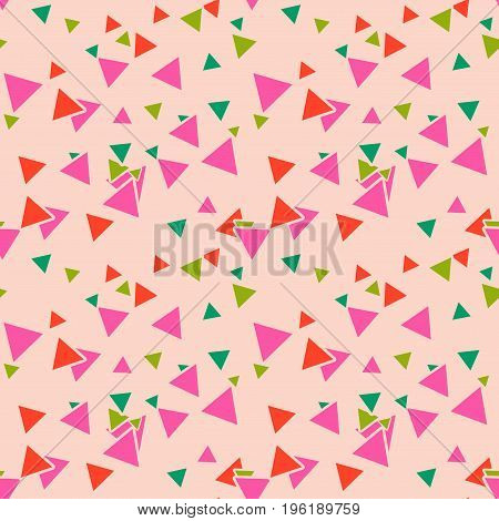 Triangular geometric seamless pattern with colorful pink, green, orange random triangles on pastel pink background. Infinity card. Vector illustration.