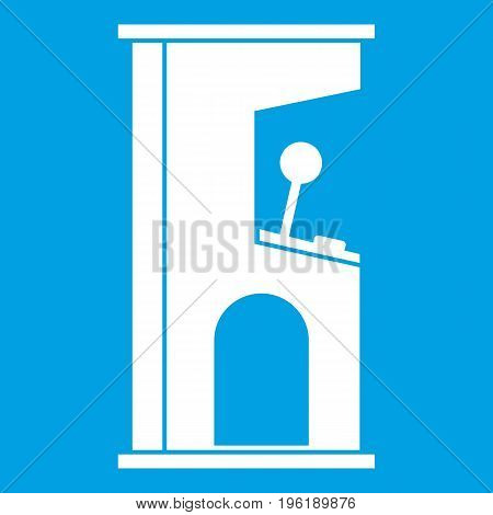 Retro style arcade game machine icon white isolated on blue background vector illustration
