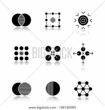 Abstract symbols drop shadow black glyph icons set. Merging, isolation, goal, contradictory, cooperative, directions, overlapping, half, connections concepts. Isolated vector illustrations