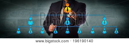 Blue chip chairman is selecting the top executive in a hierarchical organizational chart. Business concept for multi level marketing network recruitment leadership and corporate hierarchy.