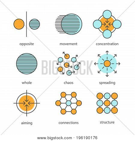 Abstract symbols color icons set. Opposite, movement, concentration, whole, chaos, spreading, aiming, connections, structure concepts. Isolated vector illustrations