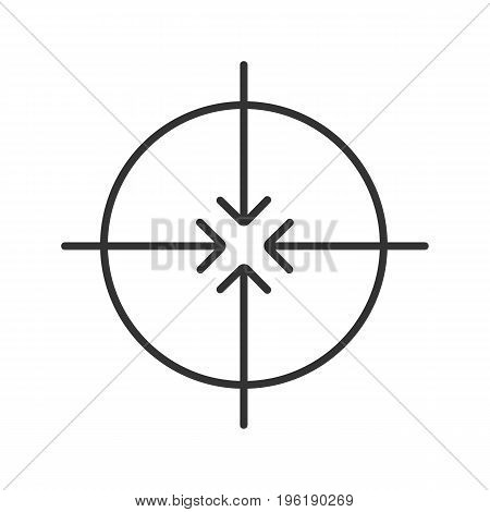 Aiming symbol linear icon. Thin line illustration. All direction arrows contour symbol. Vector isolated outline drawing