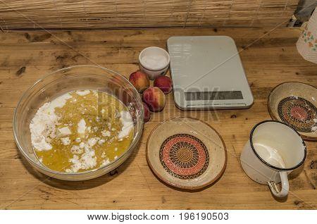 Baking of marijuana apricot cake with sugar and yeast