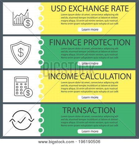Economics web banner templates set. Market growth chart, finance protection, income calculation, transaction. Website color menu items with linear icons. Vector headers design concepts