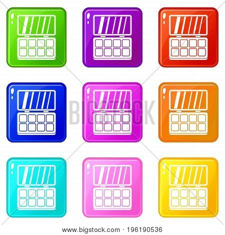 Makeup cosmetics icons of 9 color set isolated vector illustration