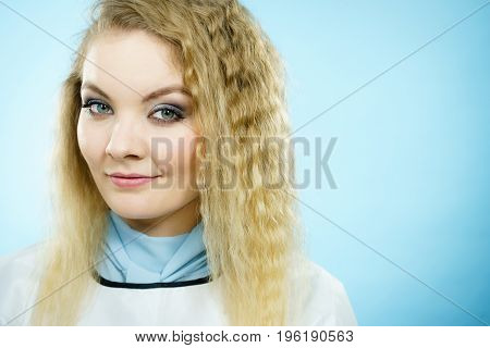 Woman Wearing Hairdressing Collar