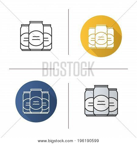 Beer cans icon. Flat design, linear and color styles. Isolated vector illustrations