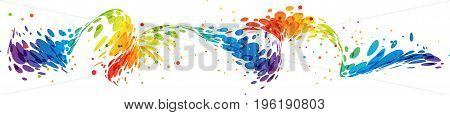 Abstract curved multicolored design element on white background
